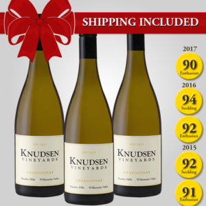 shipping included on a 3-bottle Pinot Noir vertical wine set. Points: 94, 92, 92, 91, 90.