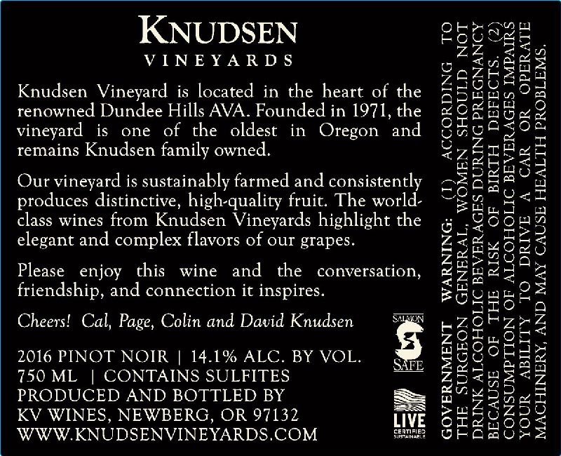 back label image for knudsen vineyards pinot nor willamette valley dundee hills 2016