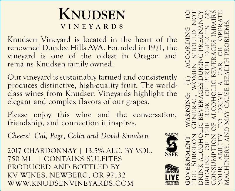 back label image for knudsen vineyards chardonnay willamette valley dundee hills 2017