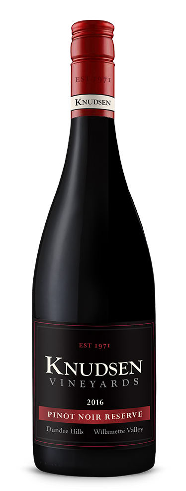 photo of bottle with wine label reading knudsen vineyards pinot noir reserve 2016