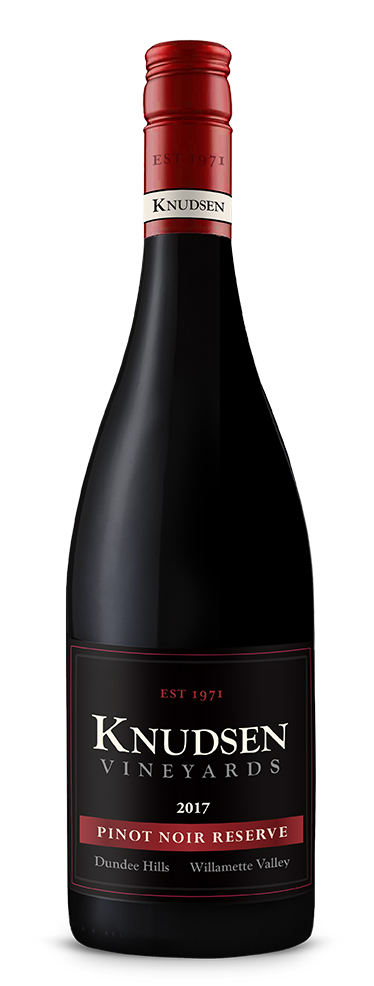 photo of bottle with wine label reading knudsen vineyards pinot noir reserve 2017